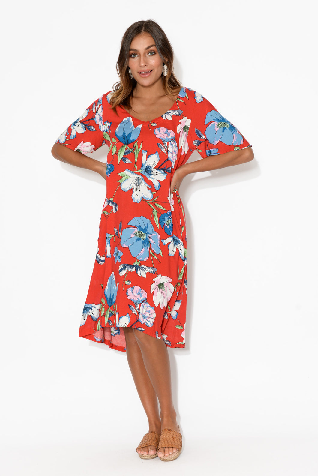 Ainsley Red Floral Swing Dress