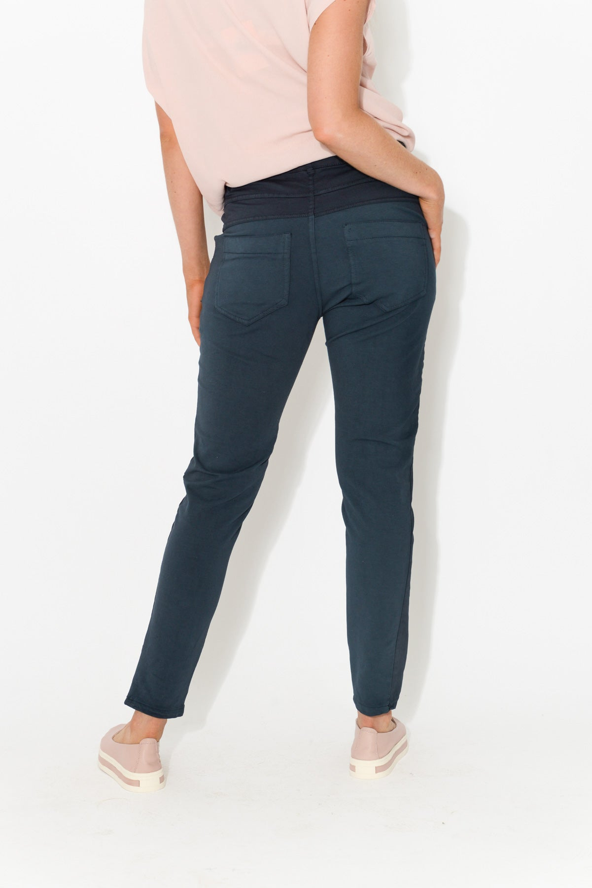 Alexis Navy Stretch Back Pant - Blue Bungalow