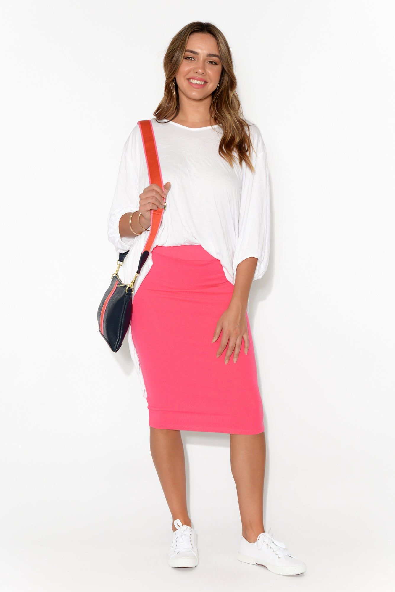 Alicia Hot Pink Midi Skirt