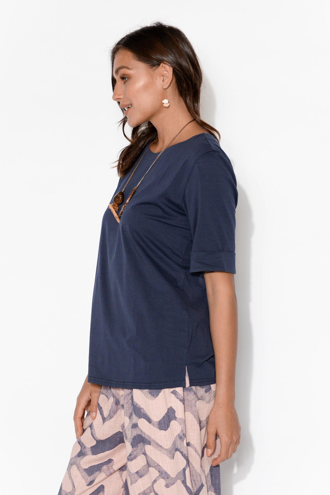 Alison Navy Cotton Cuff Sleeve Top