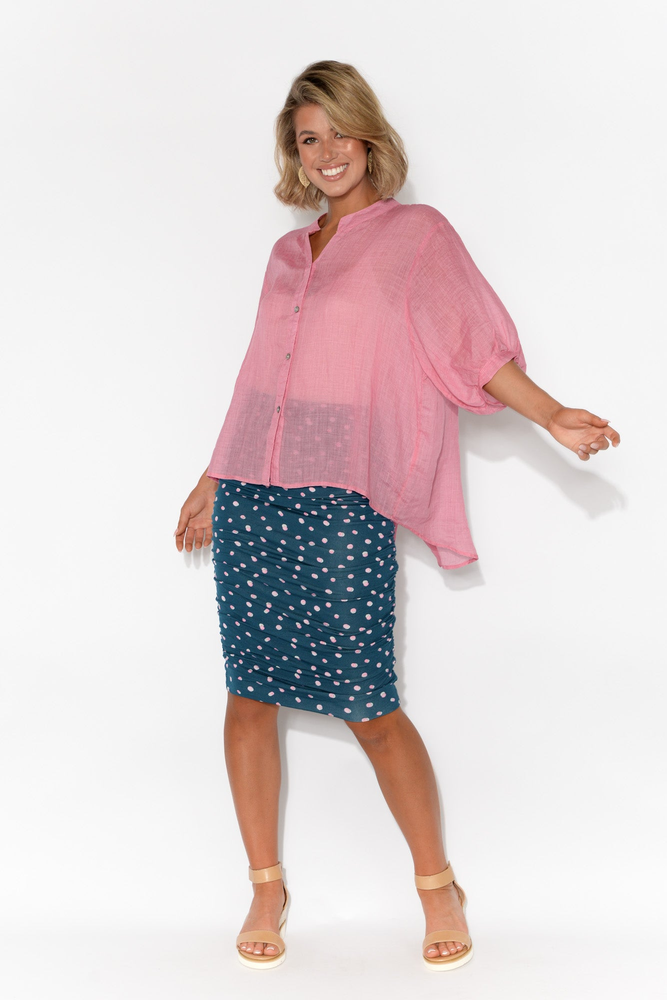 Pink Dot Bamboo Ruched Skirt