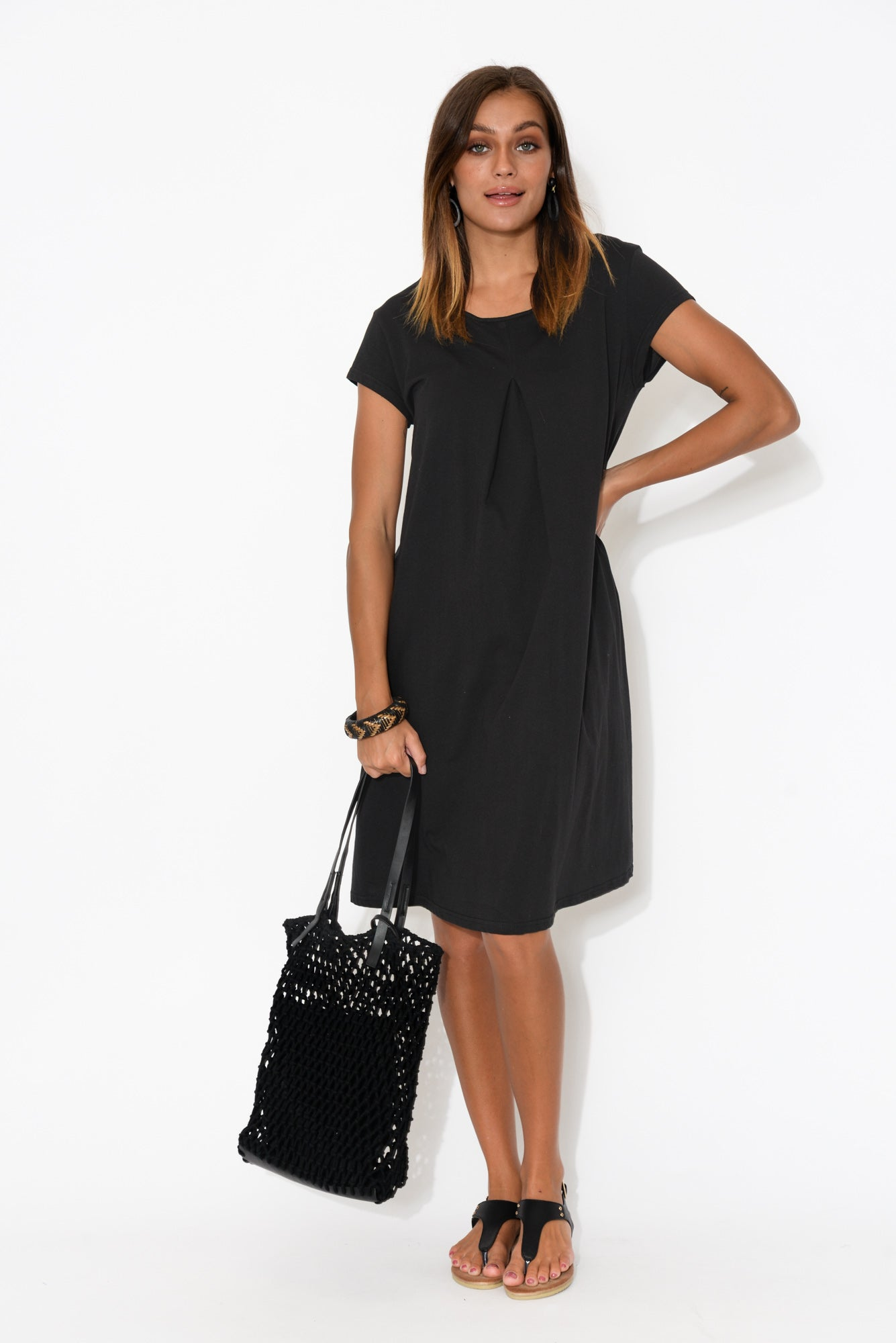 Allende Black Cotton Swing Dress