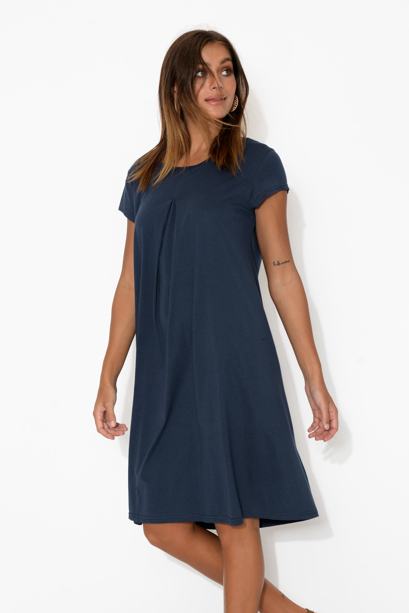 Allende Navy Cotton Swing Dress