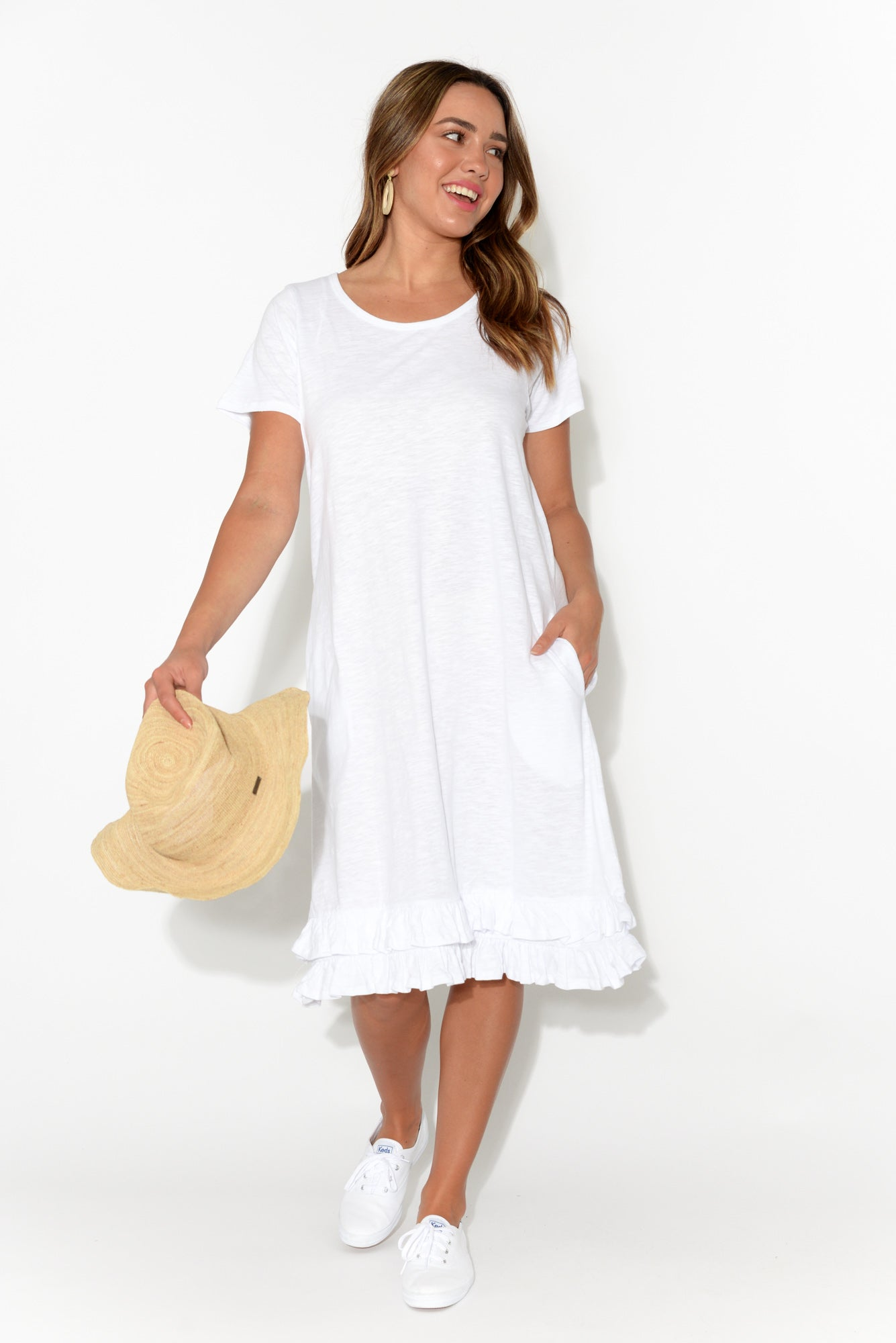 Amber White Cotton Frill Dress