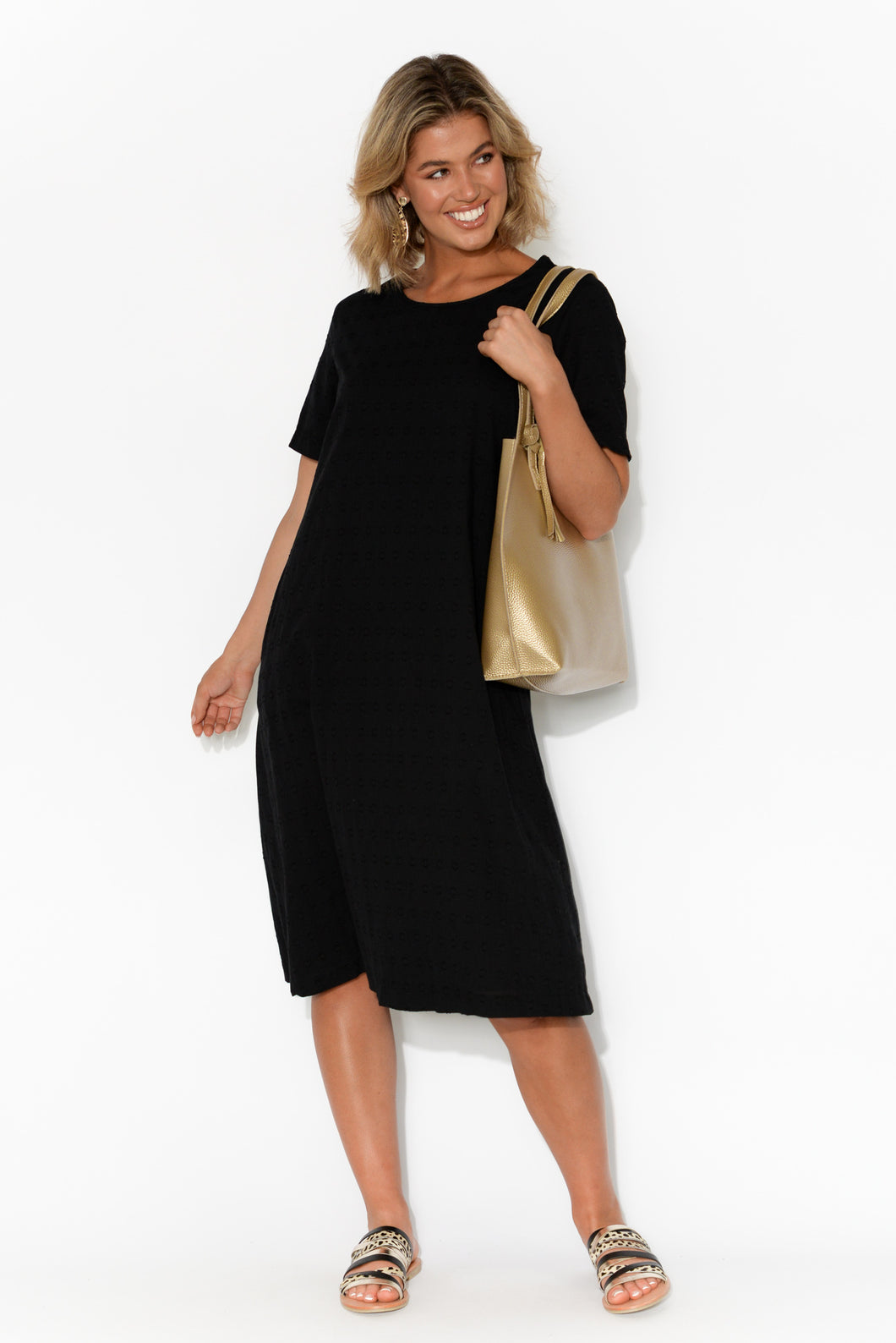 Amelie Textured Black Cotton Dress