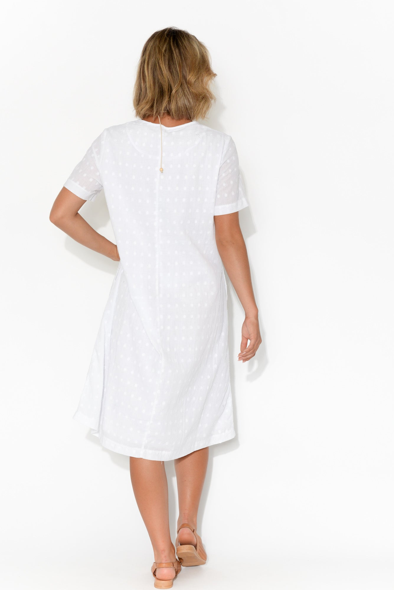 Amelie Textured White Cotton Dress