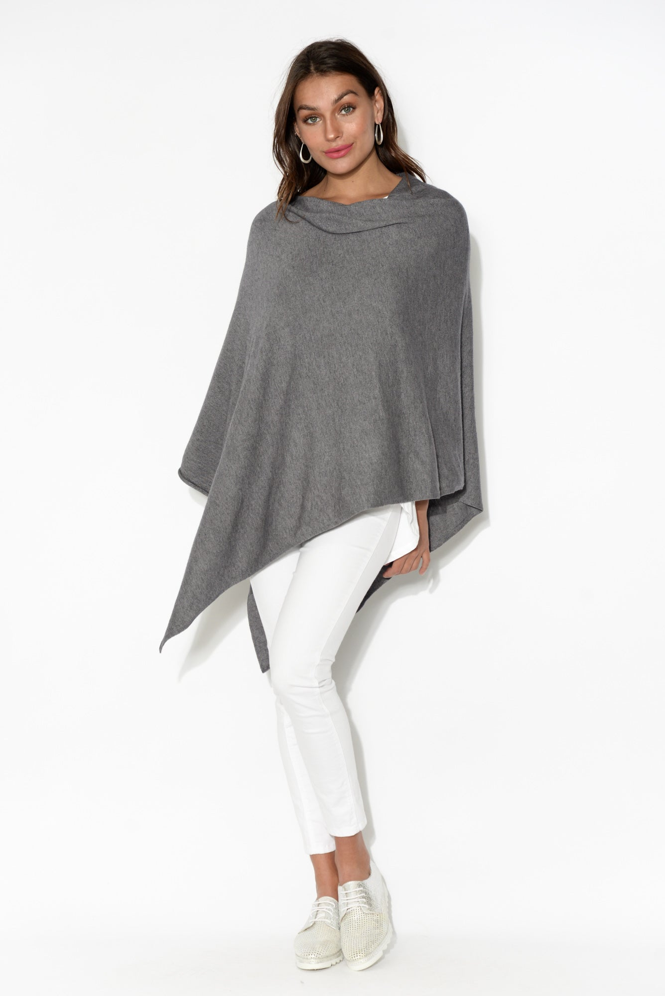 Amy Grey Wool Blend Poncho