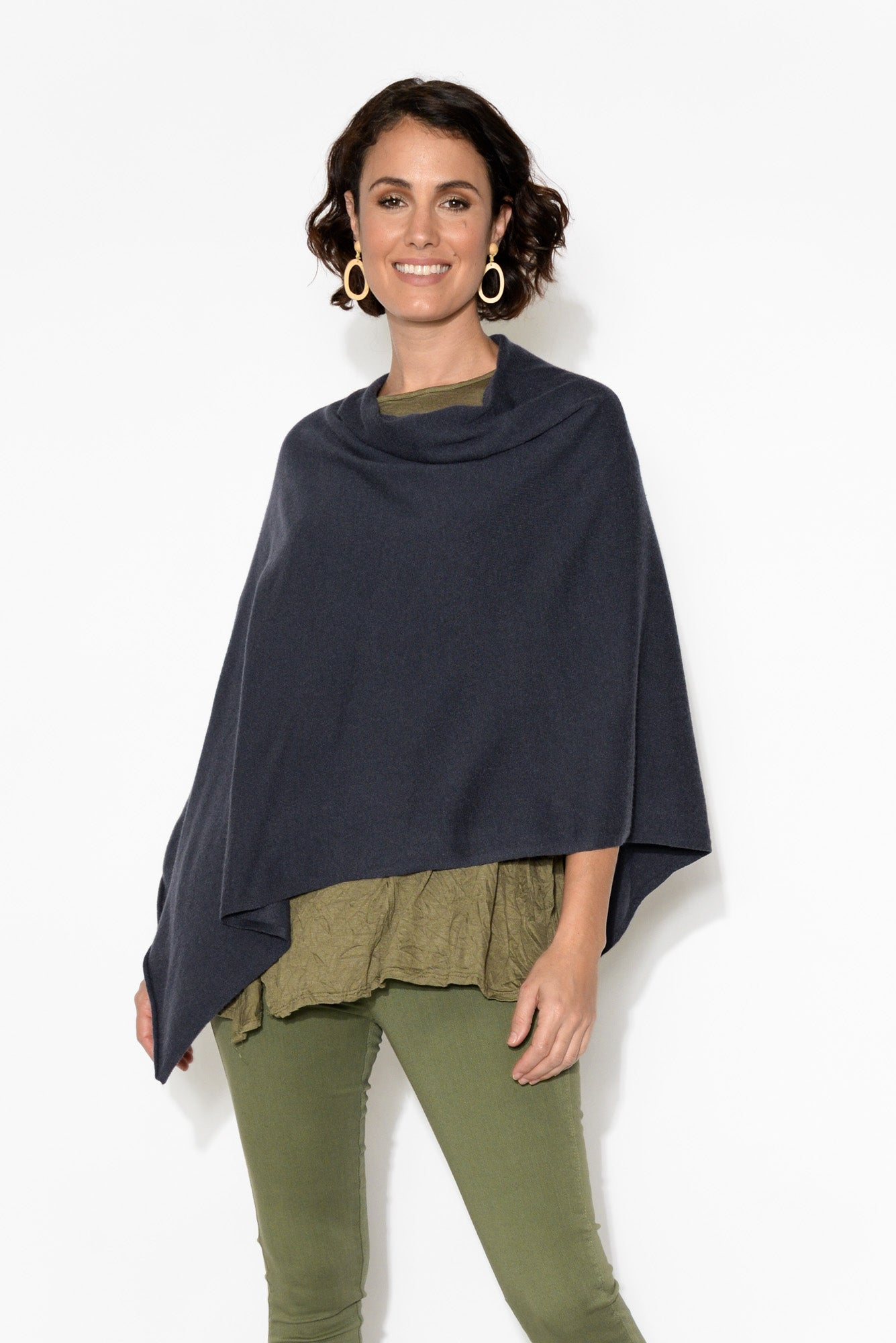 Amy Navy Wool Blend Poncho