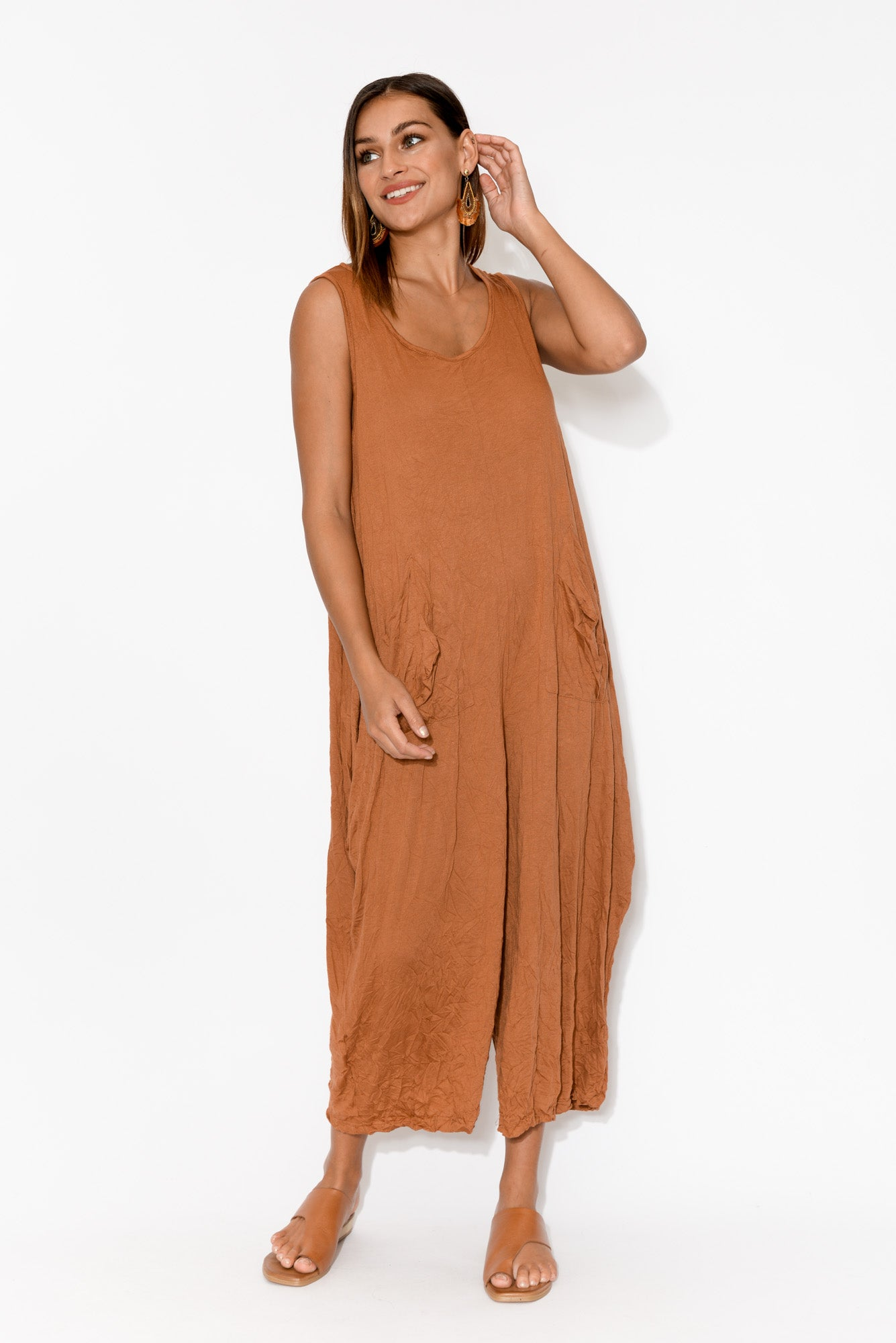 Aniston Rust Crinkle Cotton Jumpsuit