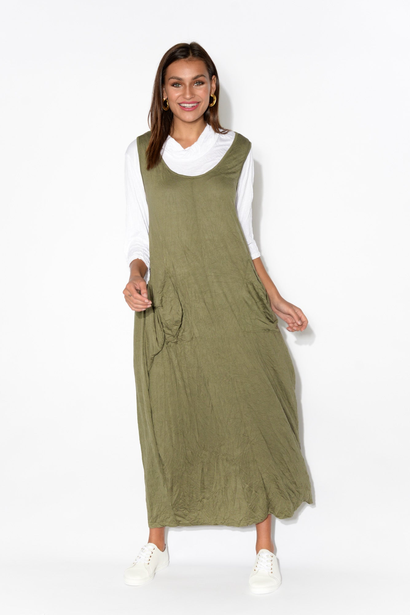 Annie Khaki Crinkle Cotton Dress