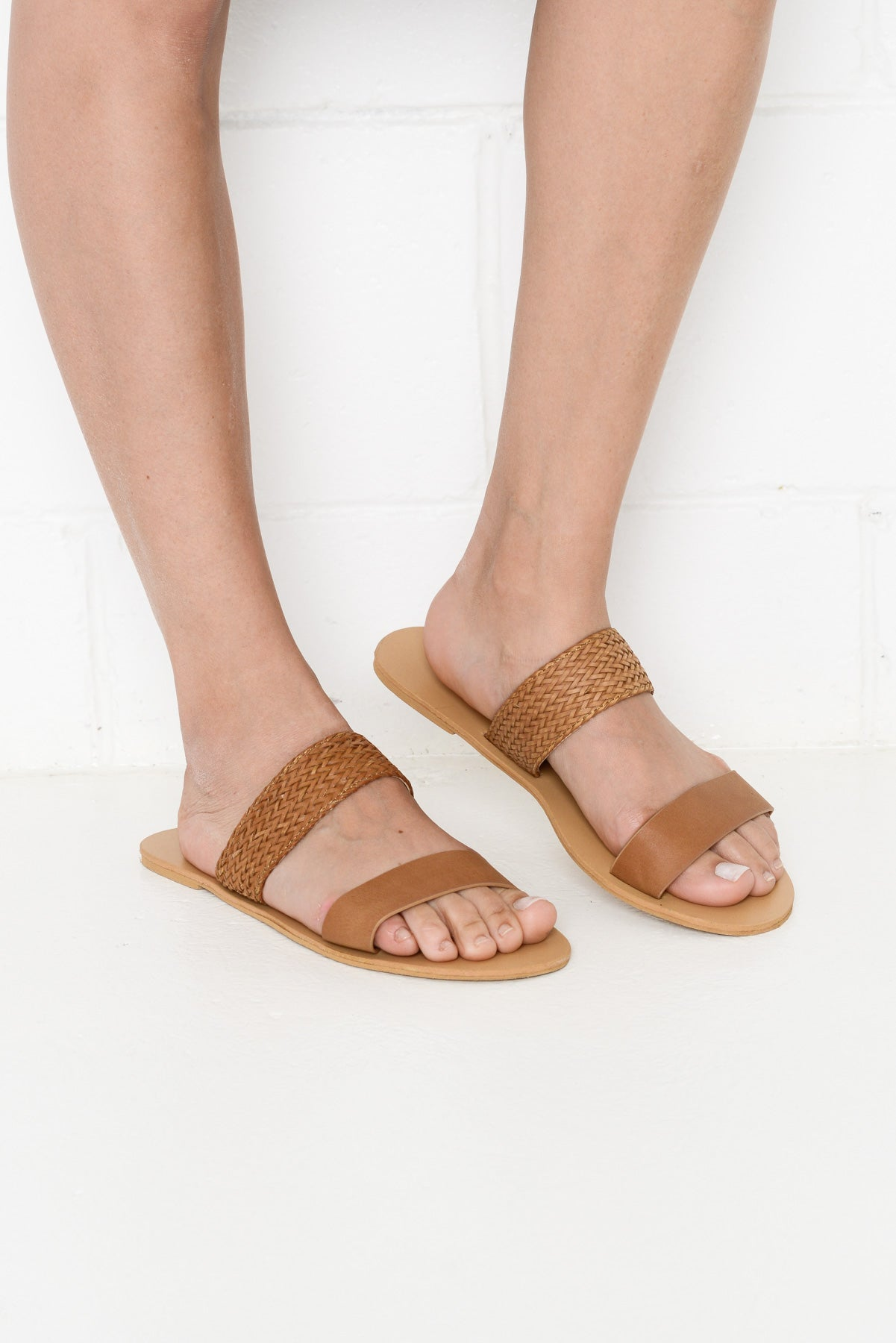 Antigua Tan Woven Slides - Blue Bungalow