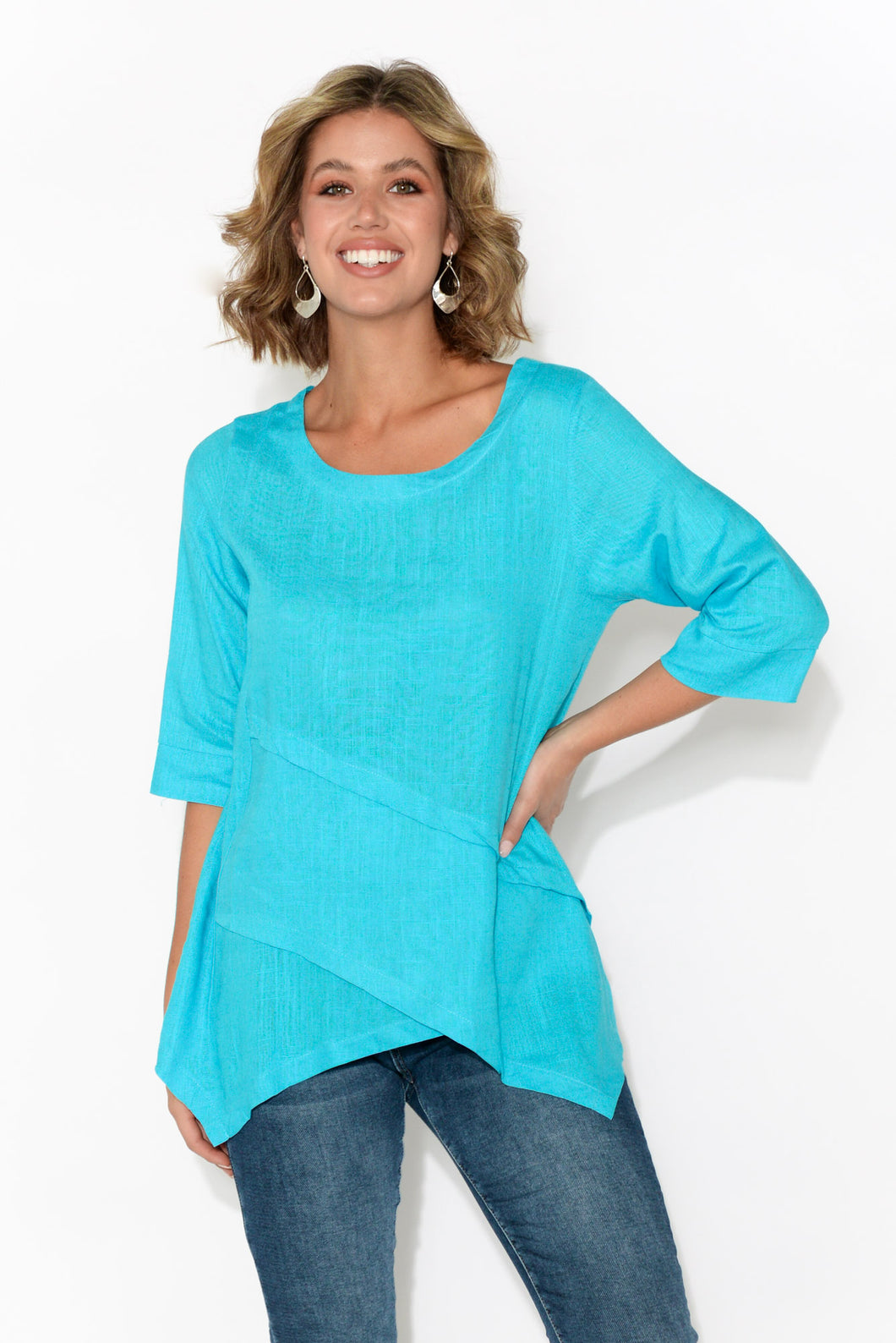 Anya Aqua Linen Cotton Top