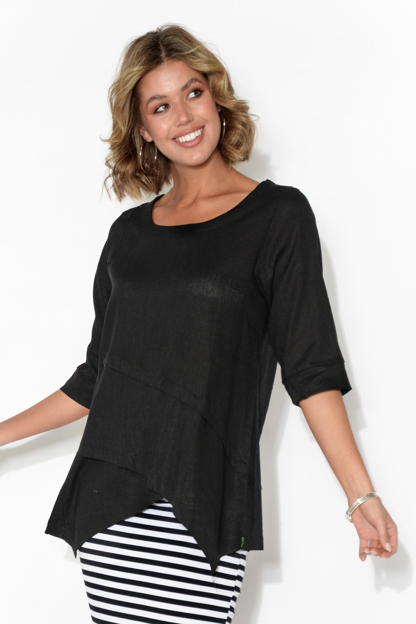 Anya Black Linen Cotton Top