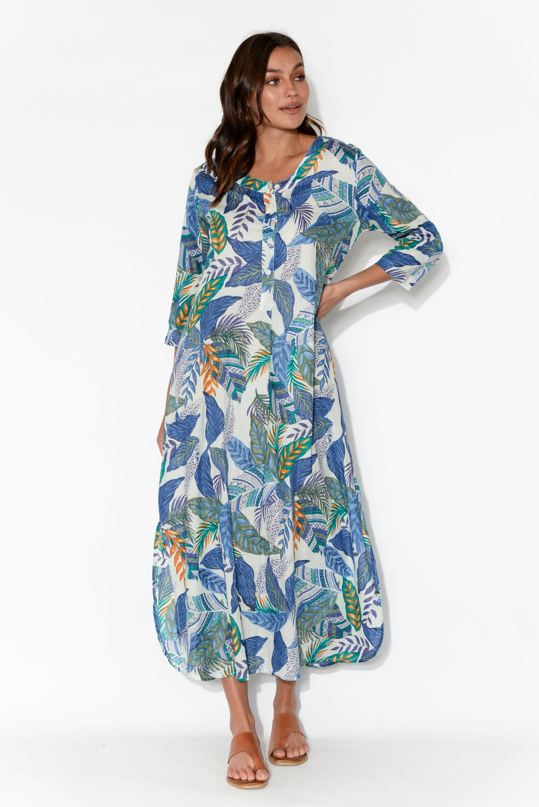 Apia Blue Leaf Cotton Maxi Dress
