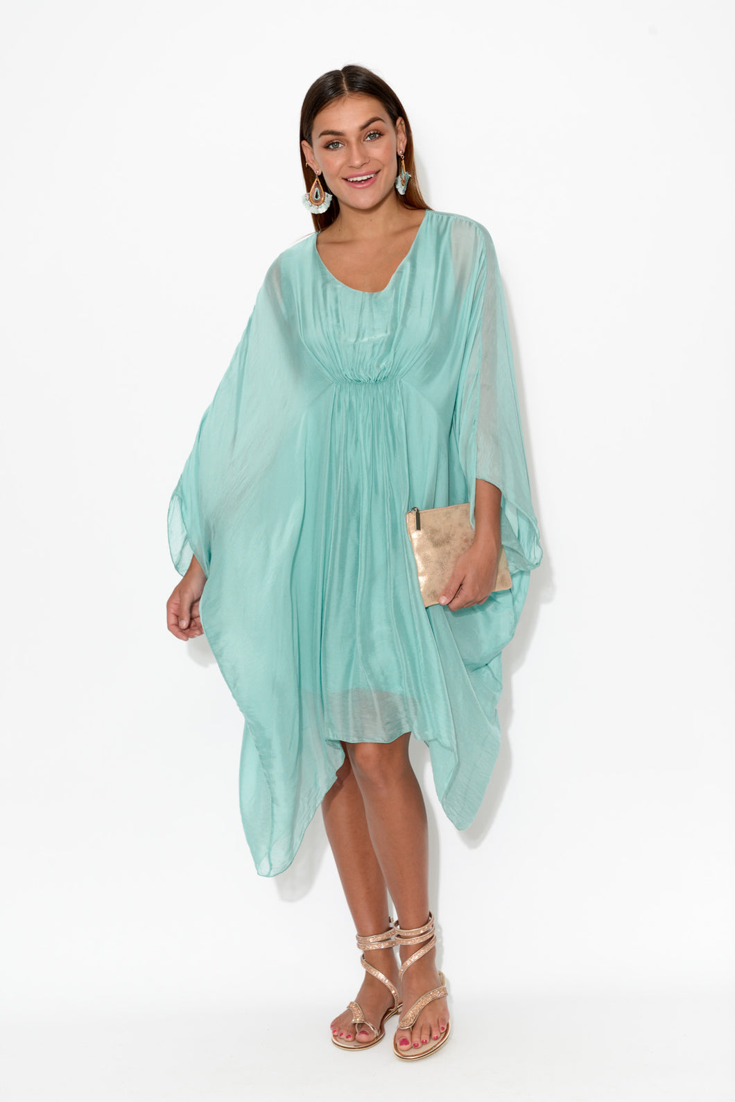 Aqua Gathered Front Layer Tunic