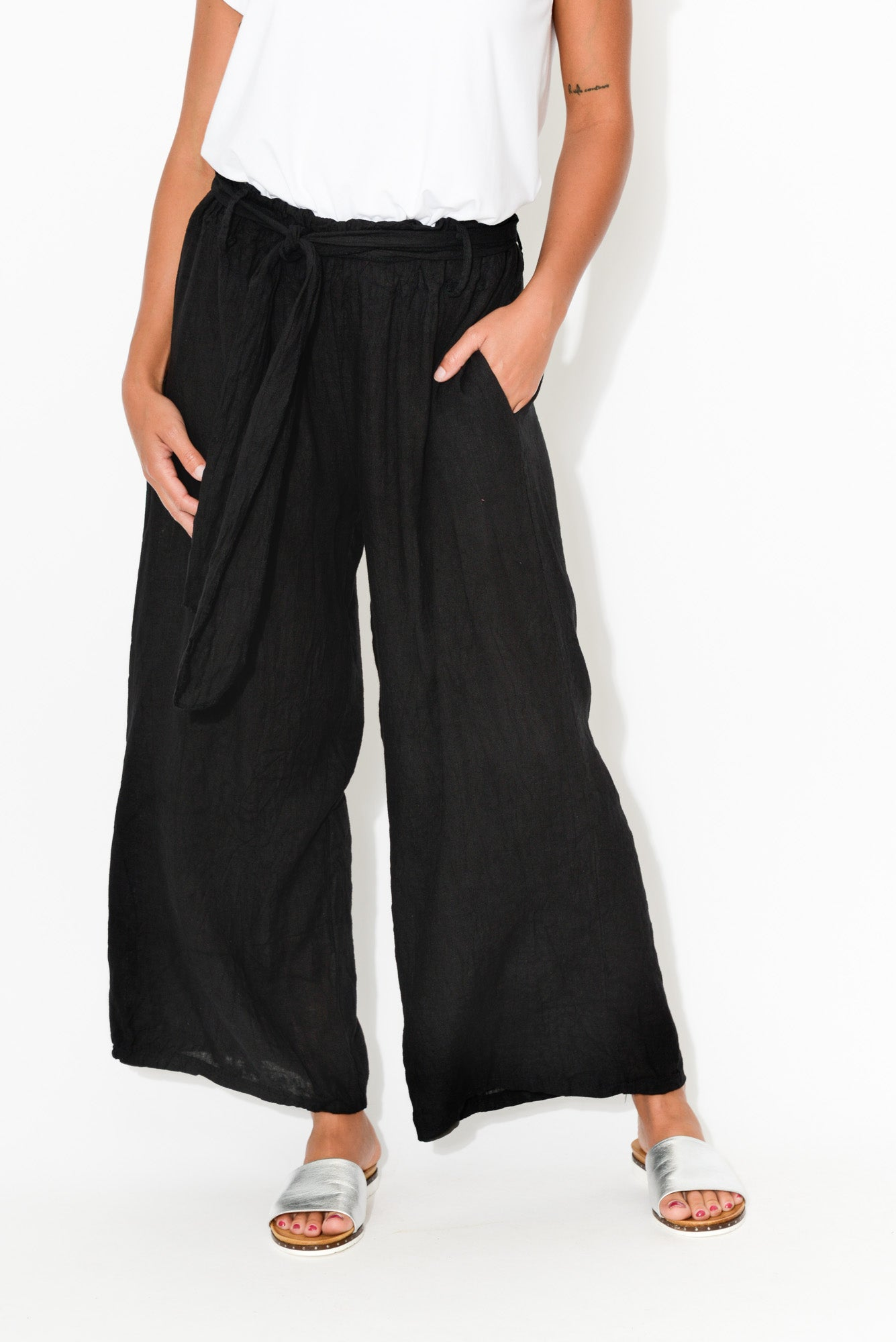 Arabella Black Wide Leg Linen Pant