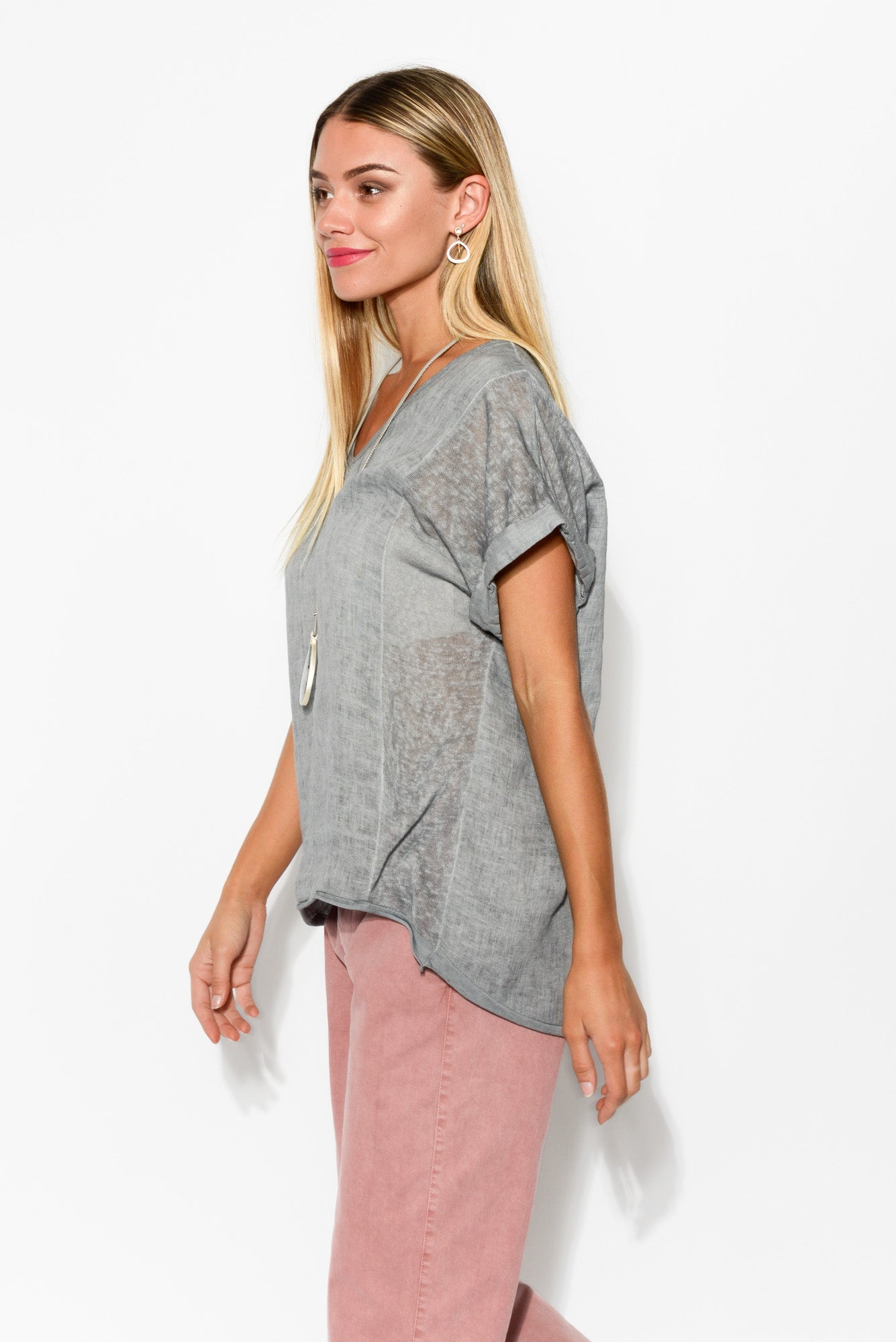Aria Grey Linen Cotton Top - Blue Bungalow