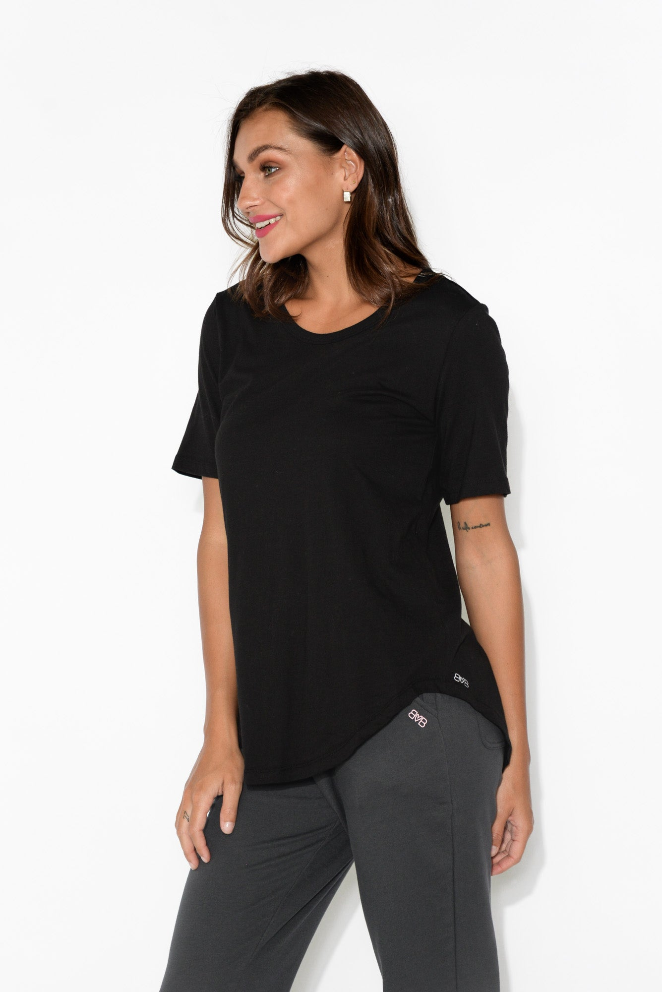 Ariana Black Cotton Tee
