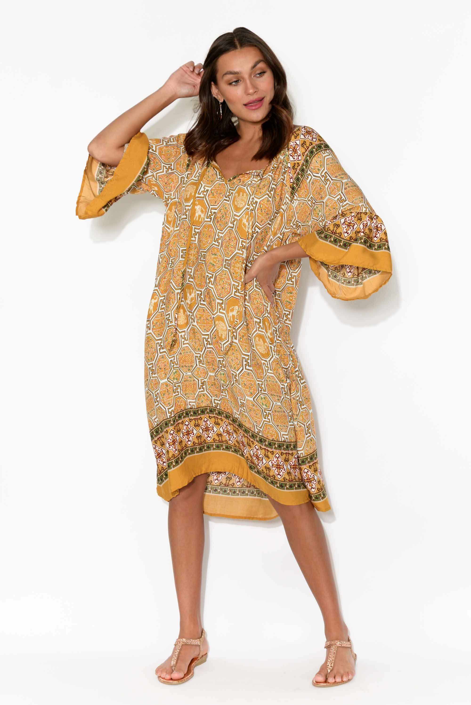 Arki Orange Art Deco Bell Sleeve Dress