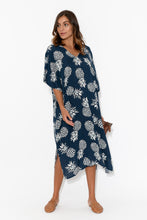 Arlo Navy Pineapple Midi Dress