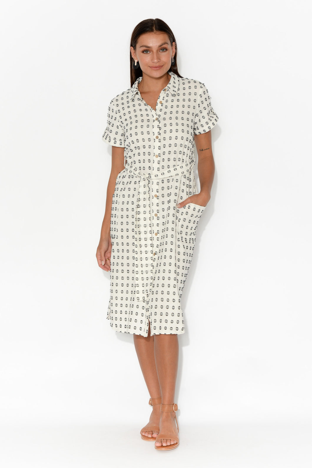 Arrival Black Spot Linen Shirt Dress