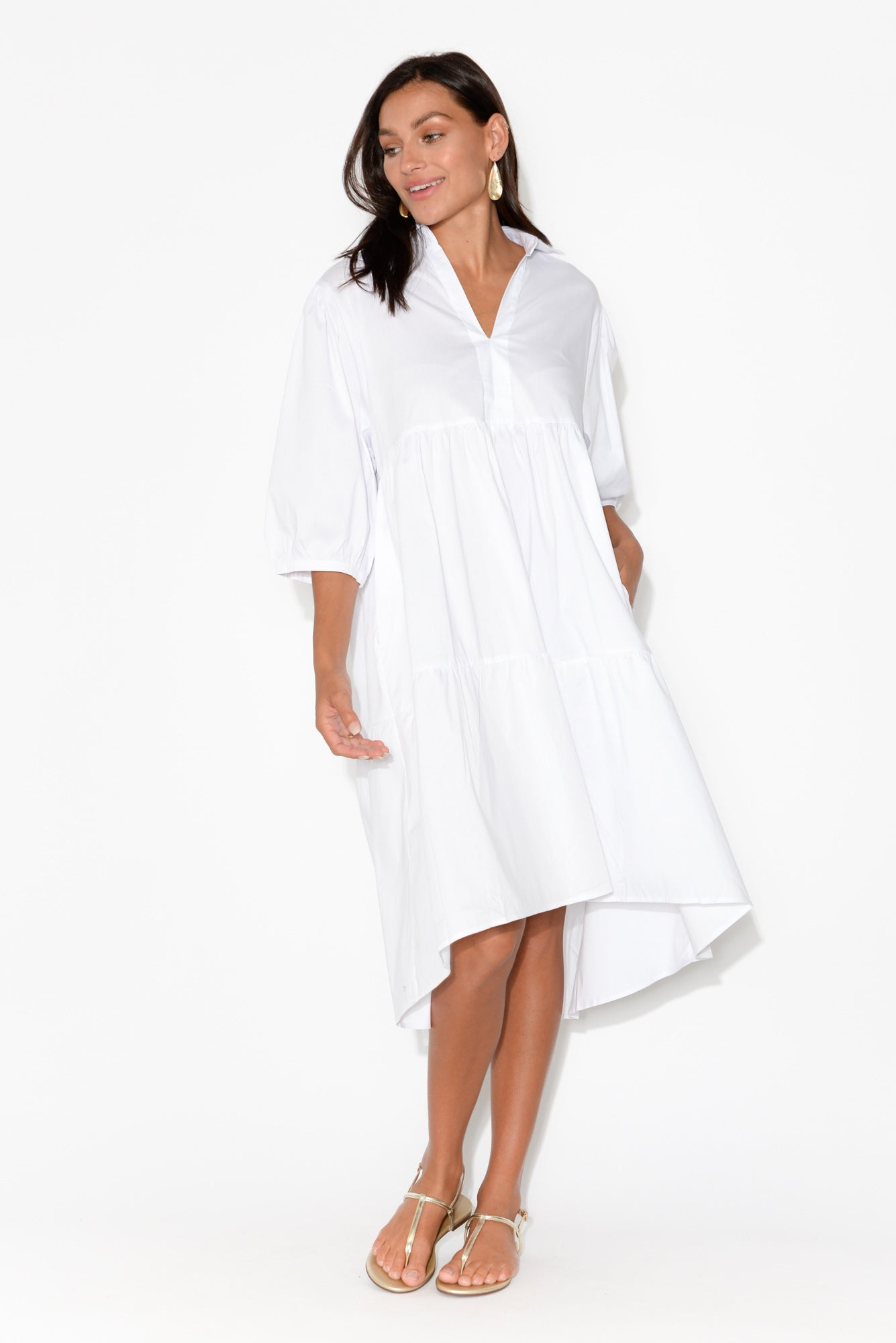 Asta White Cotton Tier Dress