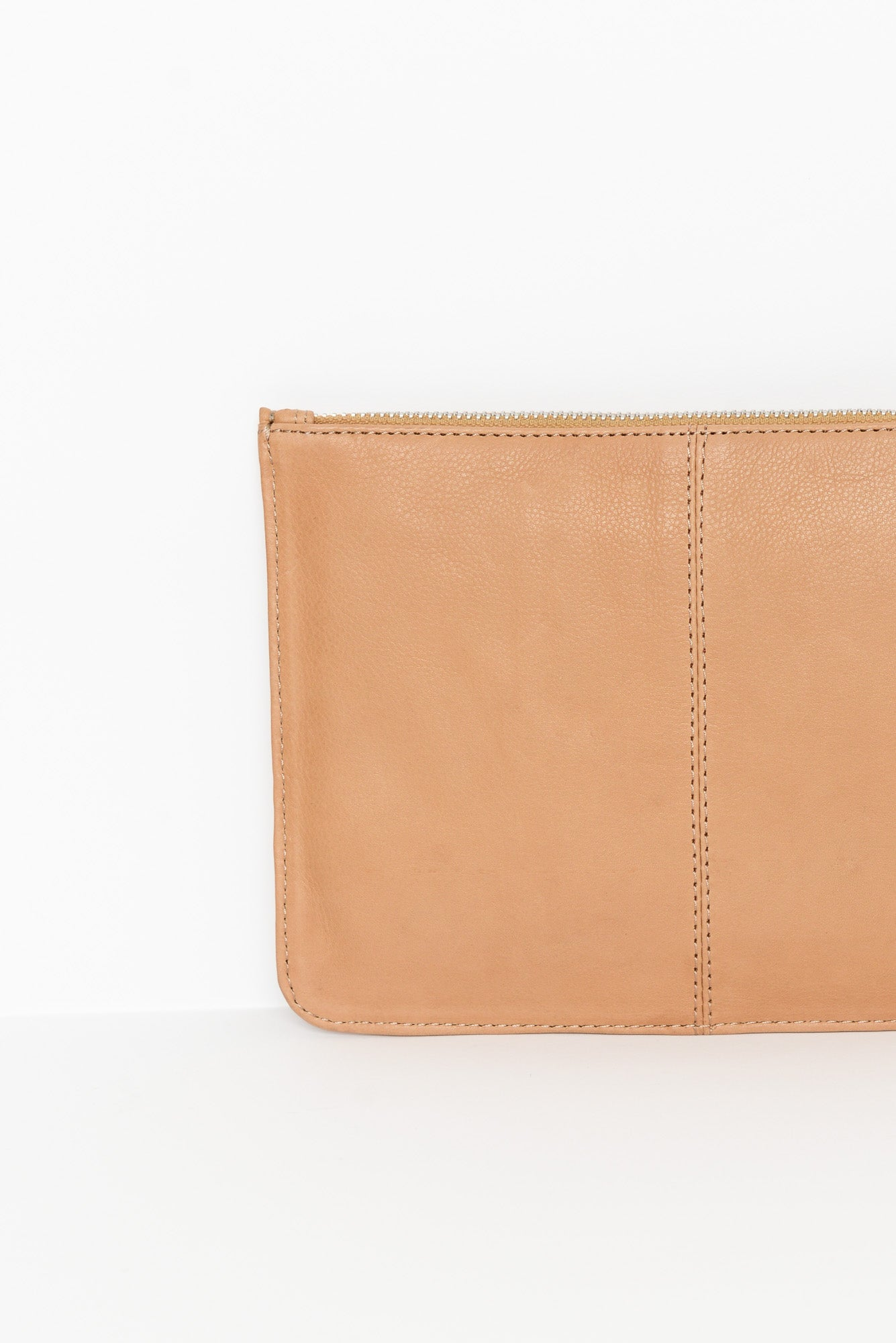 Astrid Beige Quilted Leather Pouch