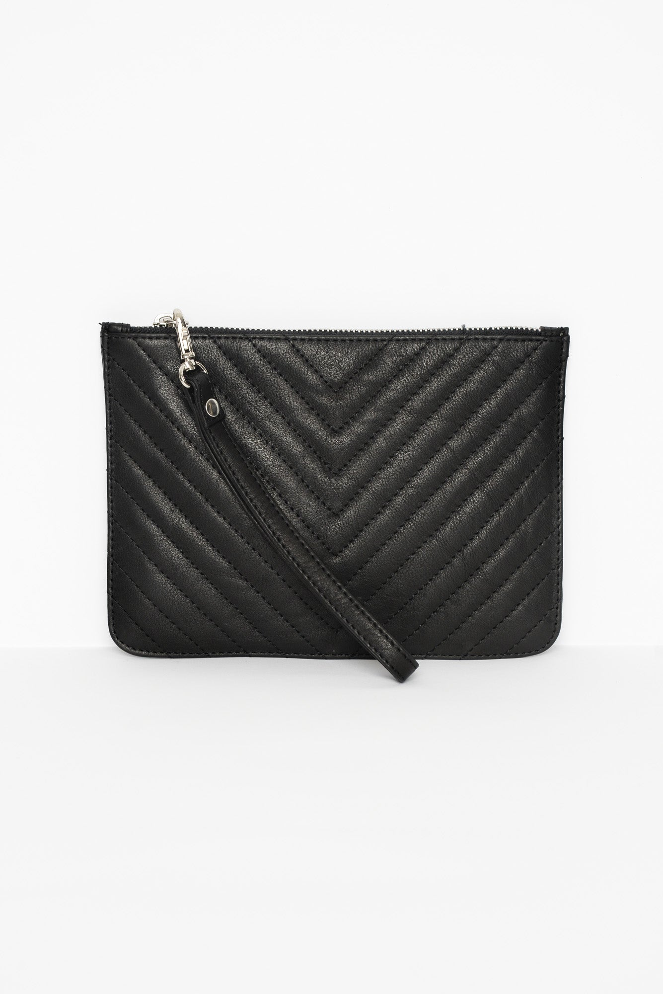 Astrid Black Quilted Leather Pouch