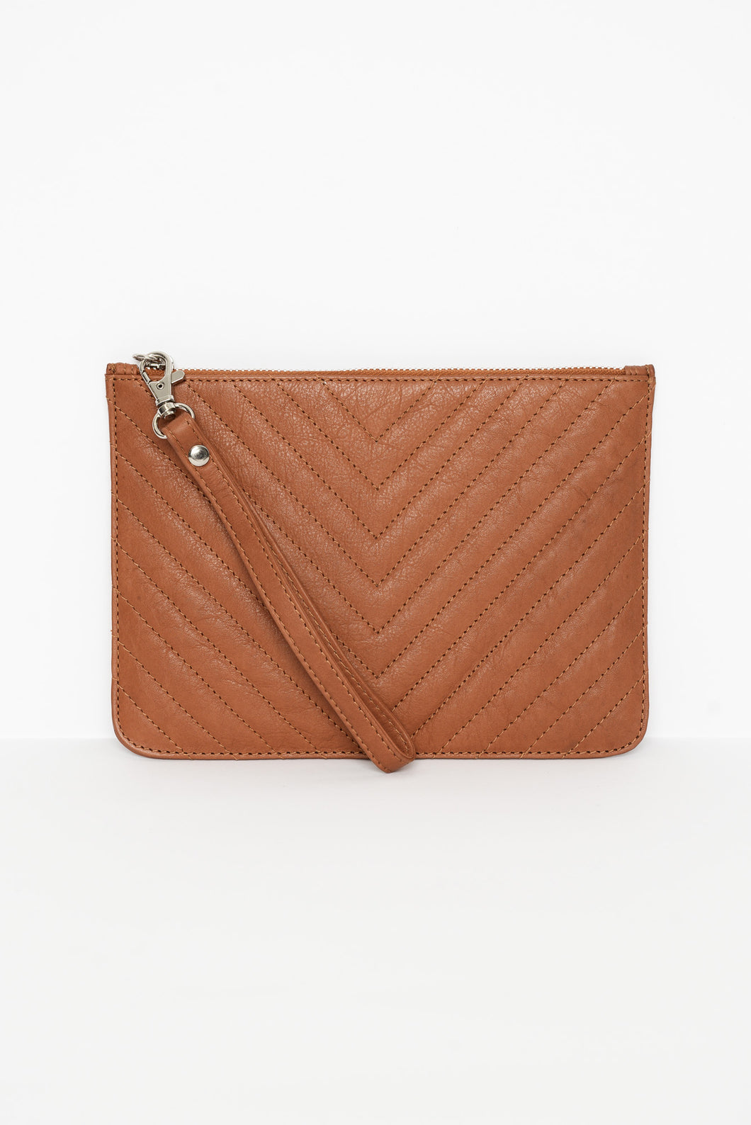 Astrid Tan Quilted Leather Pouch
