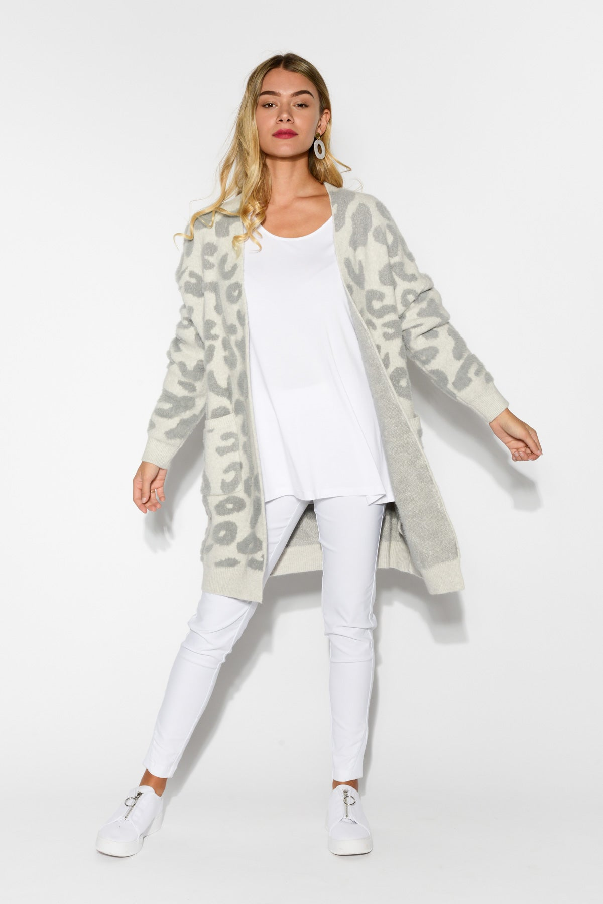 Astrid Grey Leopard Knit Cardigan - Blue Bungalow