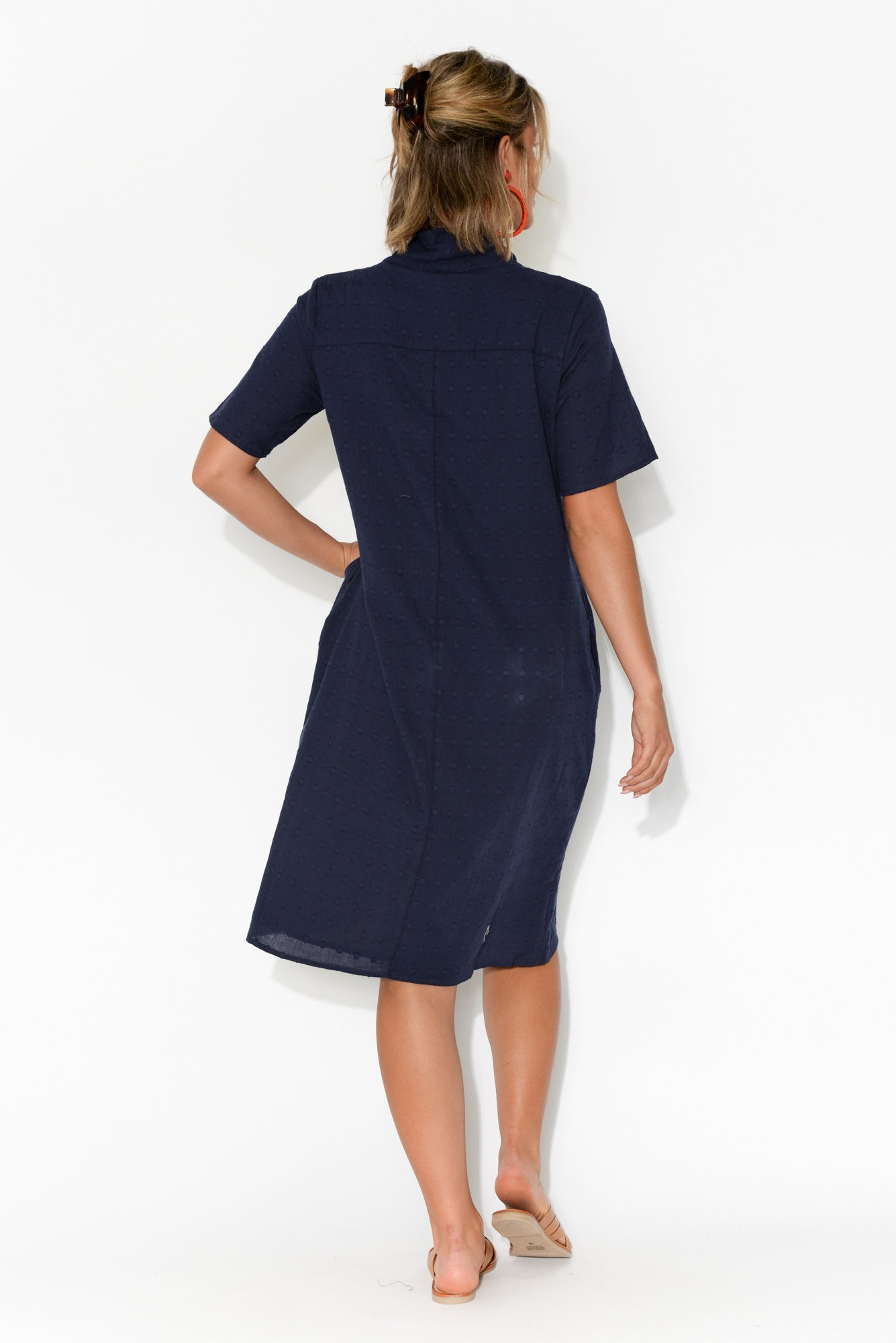 Atara Navy Cotton Cowl Neck Dress
