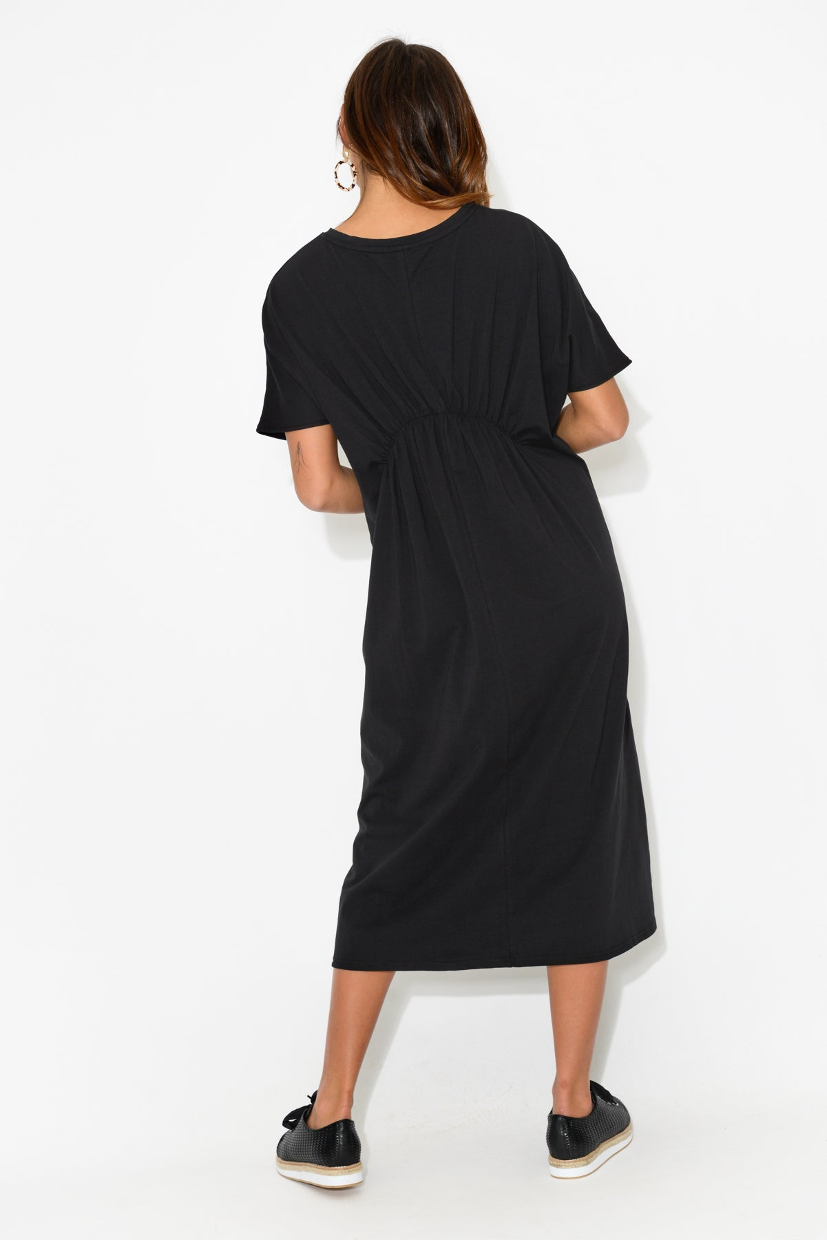 Athena Black Cotton Dress - Blue Bungalow