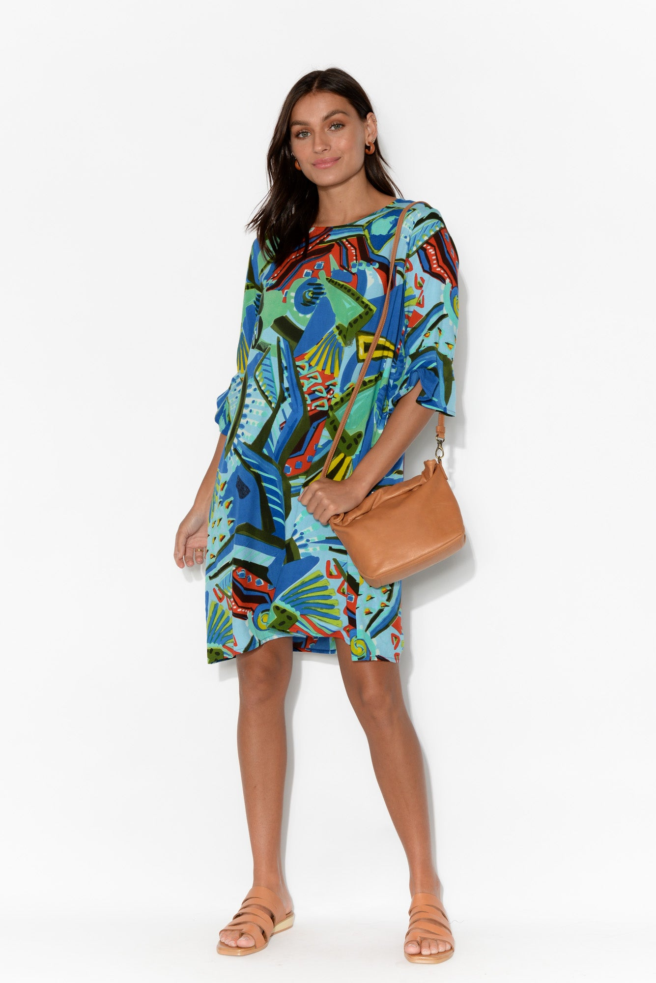 Blue Printed Ruffle Sleeve Dress