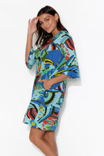 Aurora Blue Abstract Ruffle Sleeve Dress