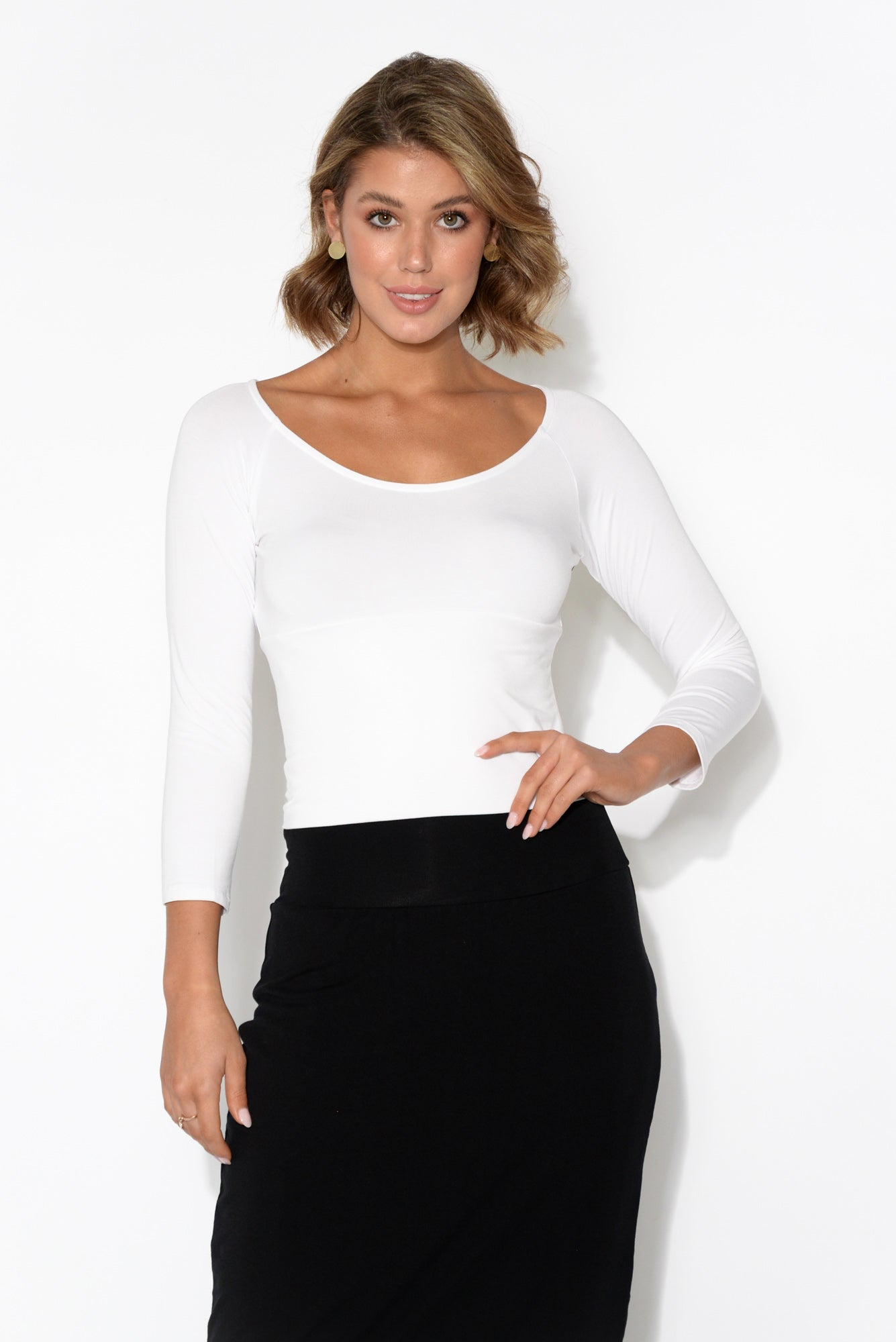 Ava White Crop Layering Bamboo Top