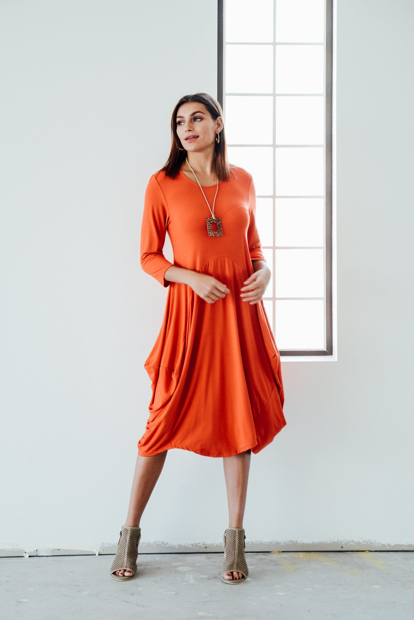 Ayla Orange Bamboo Dress - Blue Bungalow