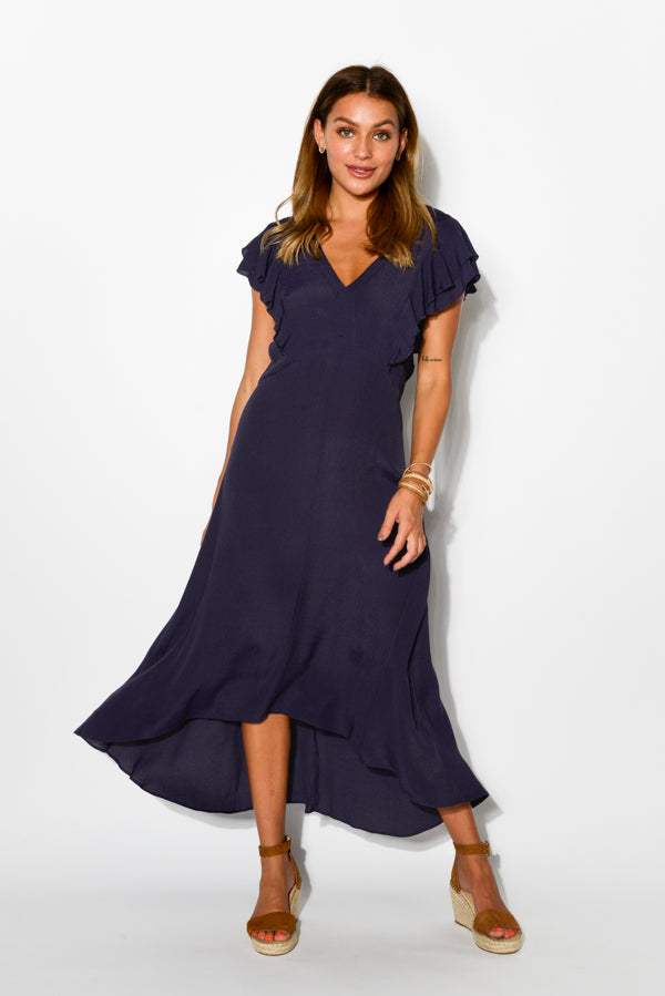 Milano Navy Ruffle Dress - Blue Bungalow