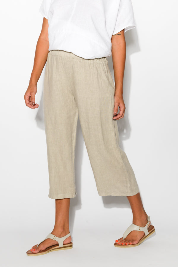 Pisa Natural Wide Leg Linen Pant - Blue Bungalow