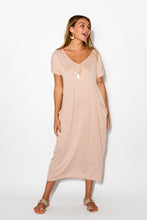 Blush Pocket Cotton Draped Dress - Blue Bungalow