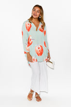 Shelly Blue Apples Top - Blue Bungalow