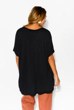Callie Black Drape Top