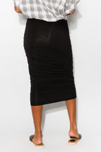 Black Bamboo Midi Ruched Skirt