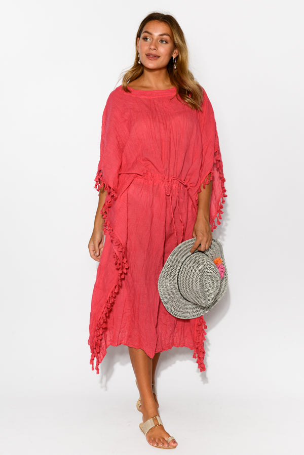 Berry Crinkle Cotton Tassel Kaftan - Blue Bungalow