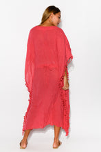 Berry Crinkle Cotton Tassel Kaftan