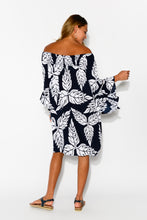 Amy Navy Leaf Dress - Blue Bungalow
