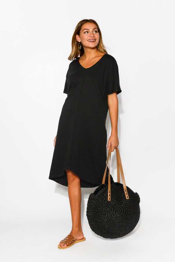 Unwind Black Linen Cotton Tee Dress - Blue Bungalow
