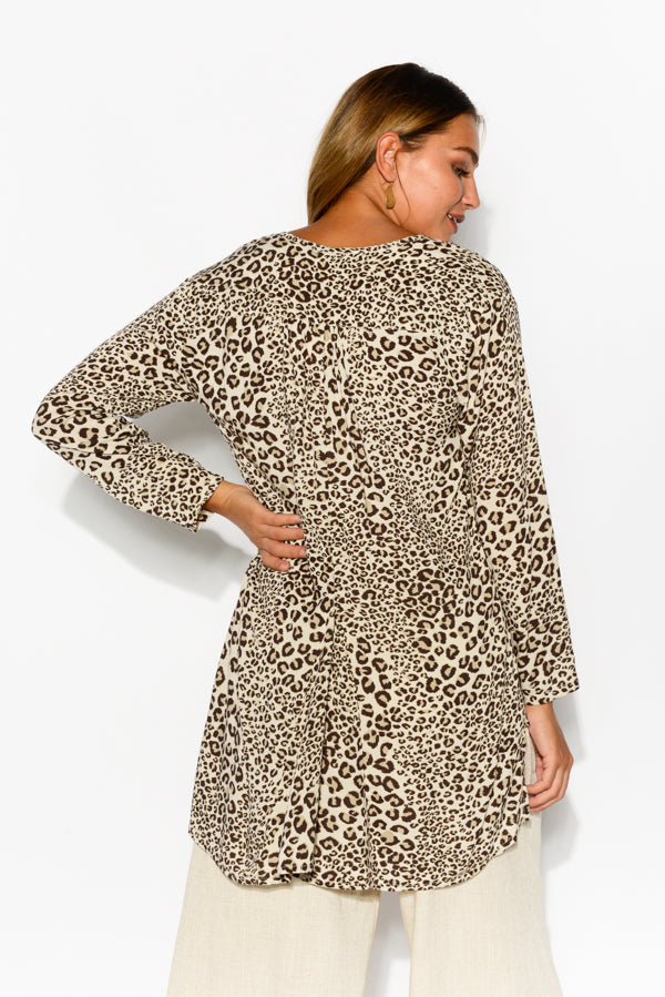 Shelly Brown Cheetah Top - Blue Bungalow