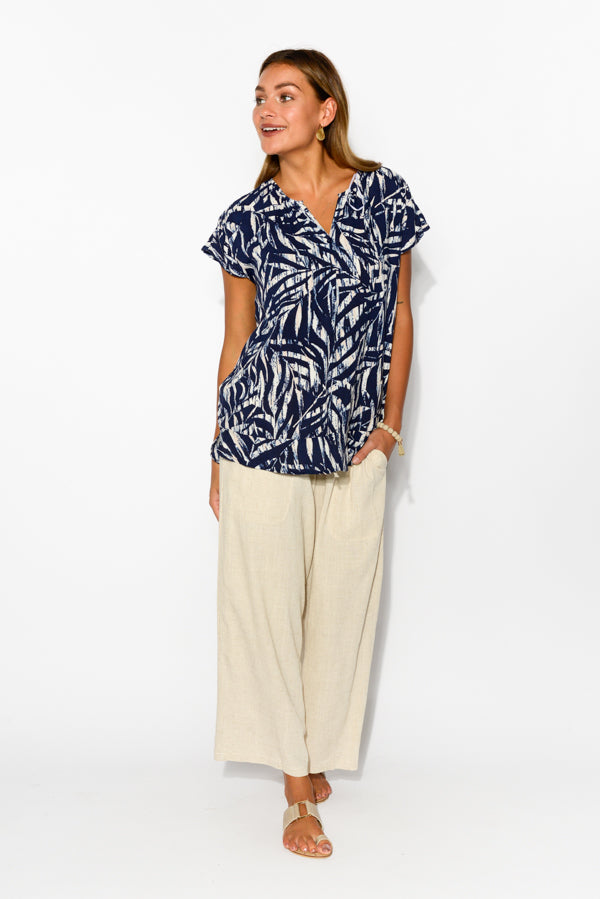Navy Palm Button Top - Blue Bungalow