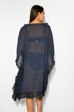 Avalon Washed Charcoal Cotton Fringe Kaftan - Blue Bungalow