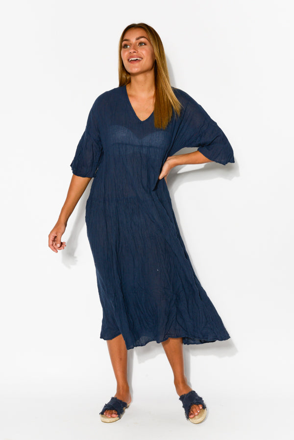 Embry Navy Crinkle Cotton Dress - Blue Bungalow